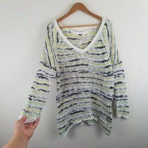 Free People Striped Knit Long Sleeve Sweater